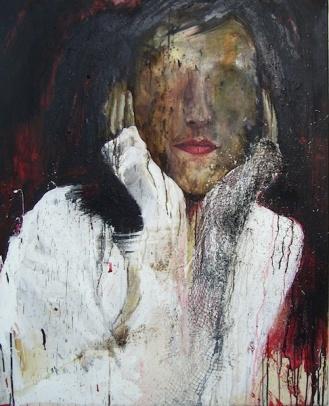 Isabelle, Acrylique et filet sur toile, 100 x 80 cm.