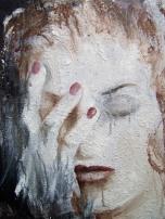 Woman's head, acrylique et sable sur toile, 40 x 30 cm.