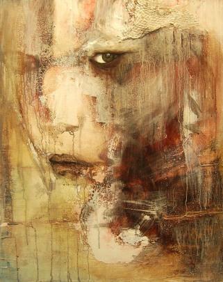 """""""Abel"""" Acrylique, huile et brou de noix sur toile, 90 x 70 cm. 2010"""