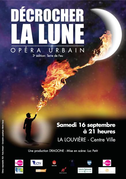 Affiche pour spectacle - décrocher la Lune, La Louvière 2006, Production Franco Dragone