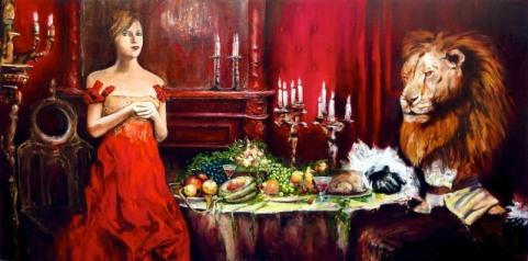 """""""Belle et la bête"""" Acrylique huile et brou de noix sur toile 230 x 130 cm. 2012 (commande)"""