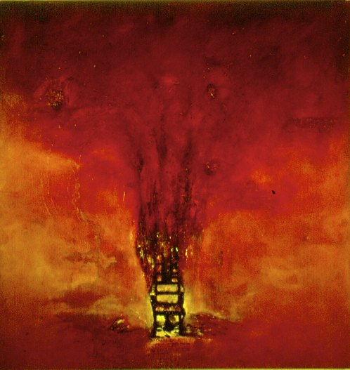 The Chair, huile et os sue toile, 120 x 128cm.