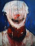 """""""Clown"""" Acrylique et oreille en silicone sur toile, 70 x 50 cm. 2005"""