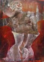 """""""Apparition"""" Acrylique, huile et brou de noix sur toile, 100 x 80 cm. 2011"""