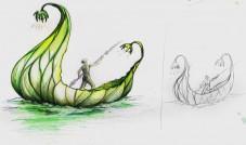 dessin bateau feuille