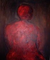 """""""Dos de femme battu"""" Acrylique et brou de noix sur toile, 120 x 100 cm. 2005"""