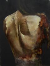 """""""Dos"""" Acrylique, huile et brou de noix sur toile, 120 x 80 cm. 2010"""