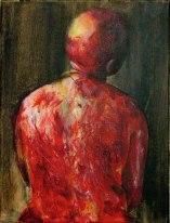 """""""Dos de femme battu"""" Acrylique et brou de noix sur toile, 40 x 50 cm. 2006"""