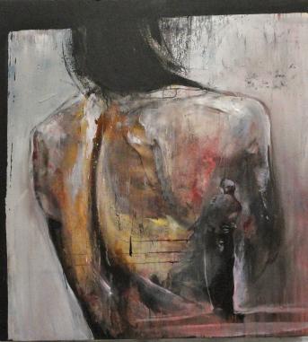 """""""L'étreinte"""" Huile, acrylique et fusain sur toile, 110 x 120cm., 2010"""