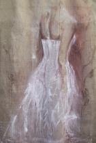 Elisabeth, acrylique et broderie sur toile de jute, 200 x 130 cm.