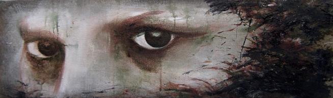 eye me, Acrylique et huile sur toile de lin, 100 x 20cm. 2011
