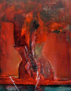 Femme au corset, Acrylique et huile sur toile, 100 x 80cm.