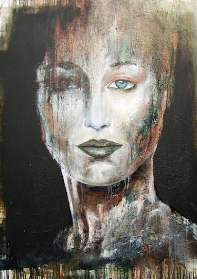 La nuit de l'Hirondelle, Acrylique, huile et brou de noix sur toile, 100 x 70, 2011