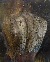 """""""Dos"""" Acrylique, huile et brou de noix sur toile, 40 x 50cm., 2010"""