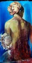 The Bath, acrylique et huile sur toile, 120 x 60 cm. (hommage à Ingres)