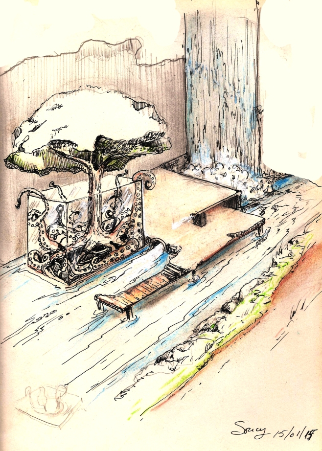 Scenography sketch studies tree house  - 2015 1