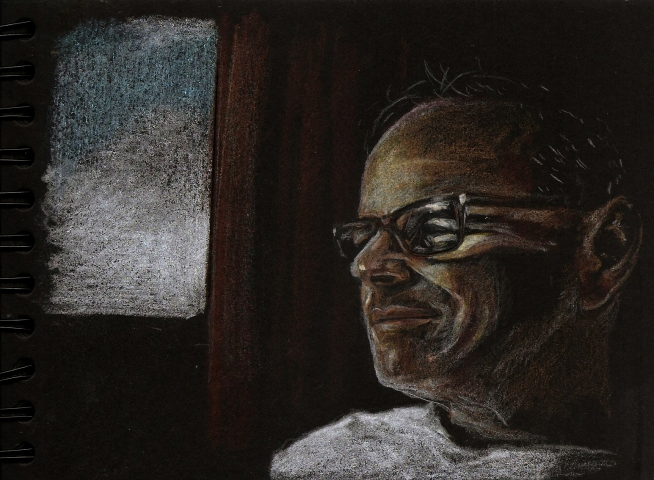 selfportrait at the hospital - pencils on black paper-2017